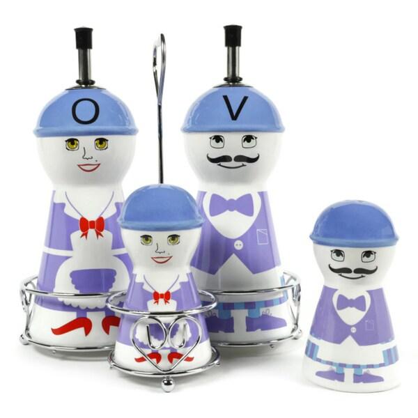 Ceramic Purple Family Oil and Vinegar Dispensers, Salt and Pepper Shakers Cruet Set