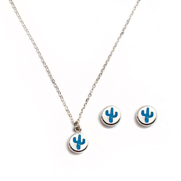 Turquoise Cactus Necklace and Earring Set