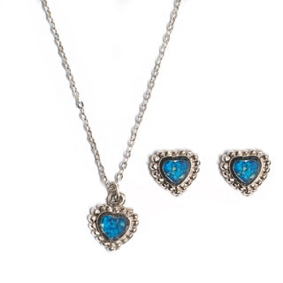 Turquoise Heart Necklace and Earrings Jewelry Set