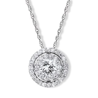 14k White Gold 1ct TDW Double Halo Round Diamond Pendant (H-I, I1-I2)