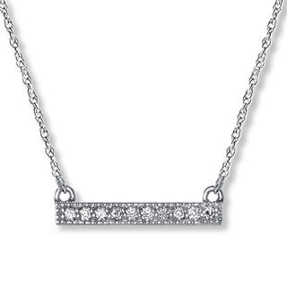 Bliss 14k White Gold Petite Diamond Bar Necklace (H-I, I2-I3)