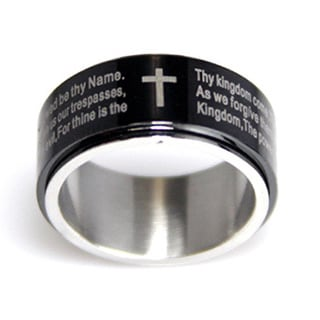 Black Ion-plated Lord's Prayer Spinner Ring