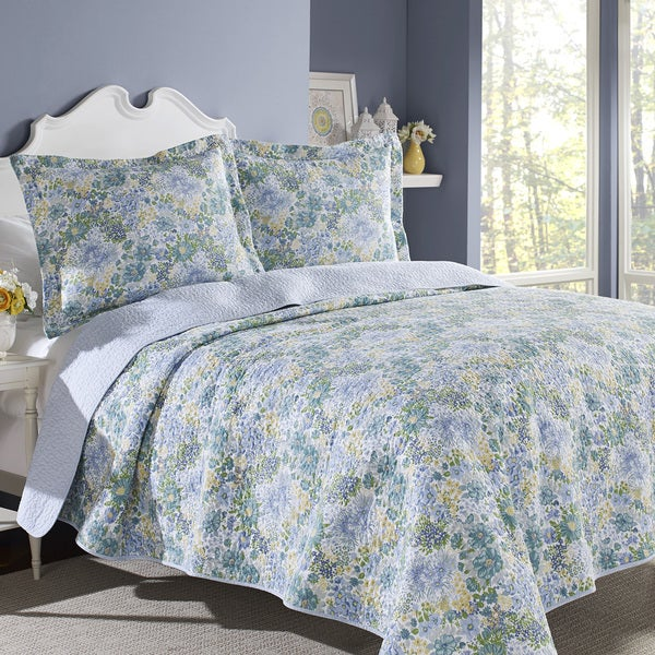 Laura Ashley Chelsea Cotton 3 Piece Quilt Set