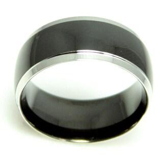 Men's Black Domed Stainless Steel Ring