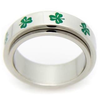 Stainless Steel Irish Clover Spinner Ring
