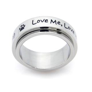 Love My Dog Spinner Stainless Steel Ring