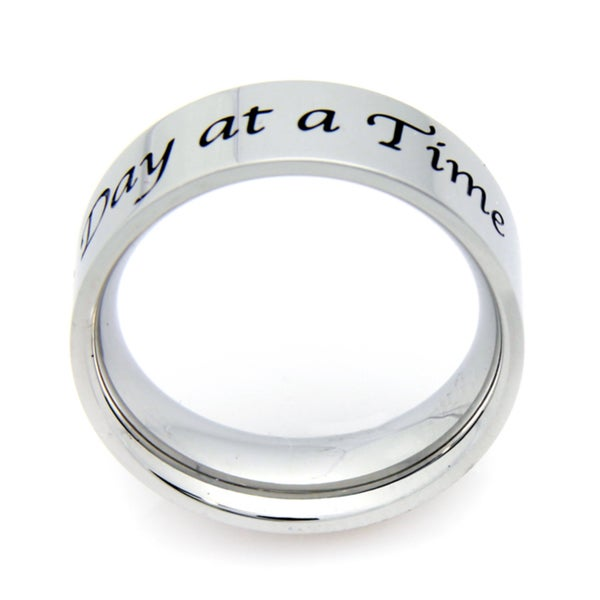 Stainless Steel 'One Day At A Time' Slogan Ring