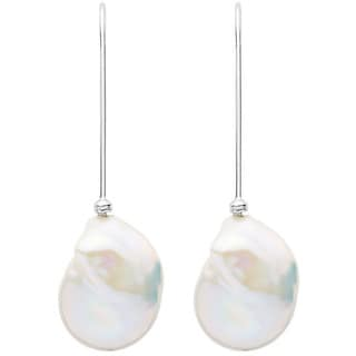 Large Freshwater Pearl Hook Earrings