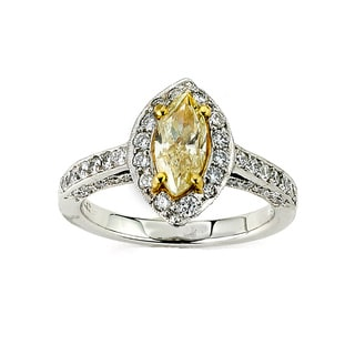 Diamonds for a Cure 14k White Gold 2ct TDW Marquise Fancy Yellow Diamond Ring (G-H, SI1-SI2)