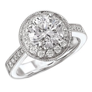 Avanti 14k White Gold 7/8ct TDW Round Halo Vintage Diamond Engagement Ring (G-H, SI1-SI2)