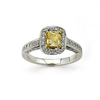 Diamonds for a Cure 14k White Gold 1.75ct TDW Emerald-cut Yellow Diamond Ring (G-H, SI1-SI2)