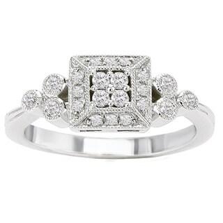 Avanti 14k White Gold 1/4ct TDW Diamond Vintage Princess Halo Ring (G-H, SI1-SI2)
