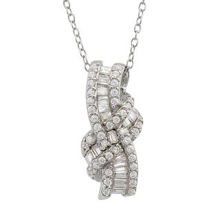 Gioelli Sterling Silver Cubic Zirconial Twist Necklace
