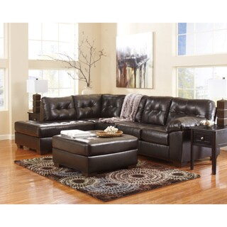 Signature Design by Ashley Alliston DuraBlend Chocolate Corner Sofa and Chaise