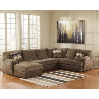 Signature Design by Ashley Cladio 3 Piece Hickory Corner Chaise Armless Loveseat and Sofa