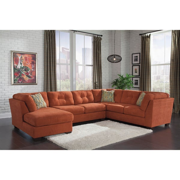 design by ashley masoli 2 piece mocha sofa and corner chaise sectional