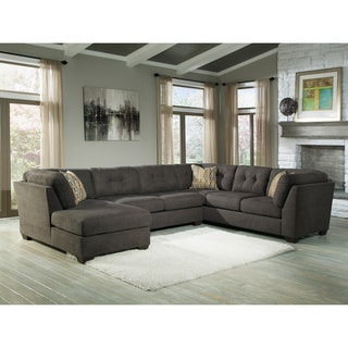 Signature Design by Ashley Delta City 3-Piece Corner Chaise Armless Loveseat and Couch Sectional