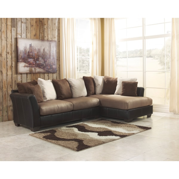 Signature design by ashley masoli 2 piece mocha corner for Ashley microfiber sectional with chaise