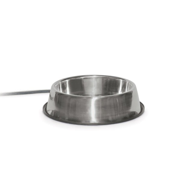 K&H Pet Products Heated Thermal Bowl Stainless Steel 120 oz.