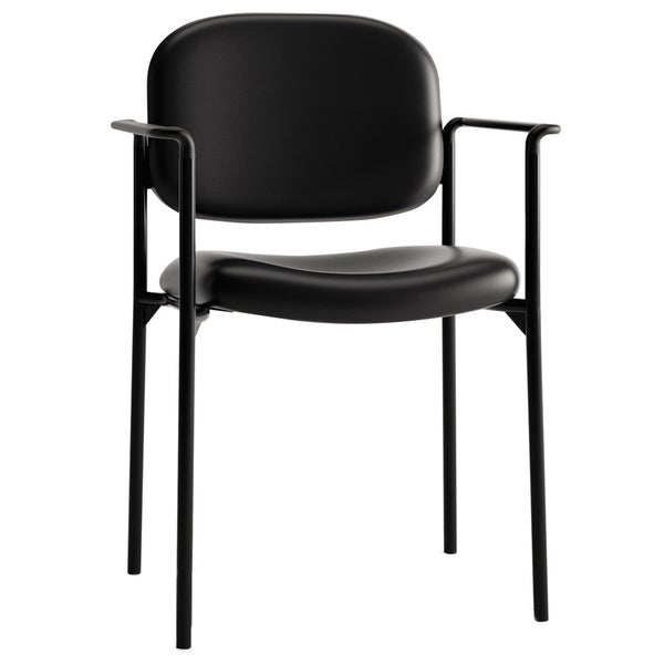 basyx VL616 Black Leather Stacking Guest Chair with Arms