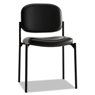 basyx VL606 Black Leather Stacking Armless Guest Chair
