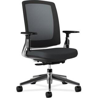 HON Lota Series Mesh Black Fabric Polished Aluminum Base Mid-back Work Chair