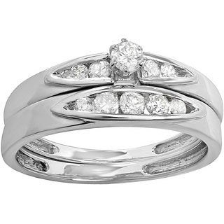 Sterling Silver 1/2ct TDW Diamond Bridal Ring Set (I-J, I2-I3)