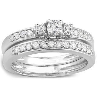14k White Gold 1/2ct TDW Diamond 3-stone Bridal Ring Set (H-I, I1-I2)