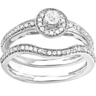 14k White Gold 1/2ct TDW Diamond Vintage Antique Bridal Set (H-I, I1-I2)
