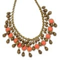 Sweet Romance Bronze Pewter Coral and Filigree 1940s Bib Necklace