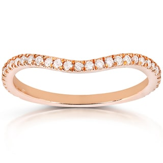 Annello 14k Rose Gold 1/5ct TDW Curved Diamond Wedding Band Ring (G-H, I1-I2)