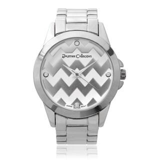 Journee Collection Round Face Chevron Print Link Watch