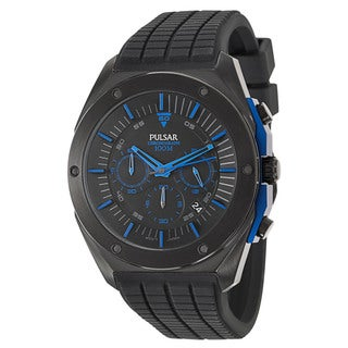 Pulsar Men's 'On The Go' Stainless Steel Black Ion-plated Quartz Watch