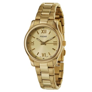 Pulsar Women's 'Easy Style' Stainless Steel Yellow Goldplated Quartz Watch