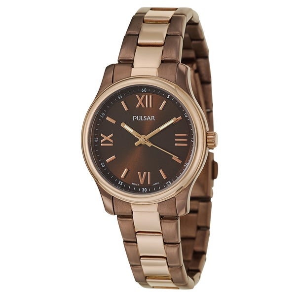 Pulsar Women's 'Easy Style' Stainless Steel Rose Gold Ion Plated Quartz Watch
