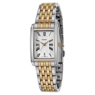 Pulsar Women's 'Traditional' Stainless Steel and Rose Goldplated Quartz Watch