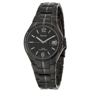 Pulsar Men's 'Easy Style' Stainless Steel Black Ion-plated Quartz Watch