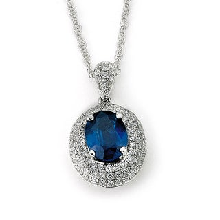 Neda Behnam Diamonds for a Cure 14k White Gold Oval Sapphire and 1/2ct TDW Diamond Necklace (G-H, SI1-SI2)
