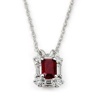 Neda Behnam Diamonds for a Cure 14k White Gold Emerald-cut Ruby and 1/3ct TDW Diamond Necklace (G-H, SI1-SI2)