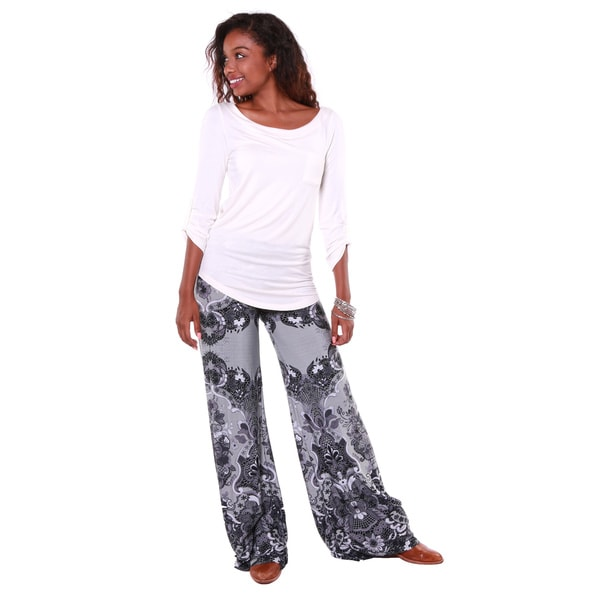 Hadari Women's Grey Brocade Print Palazzo Pants