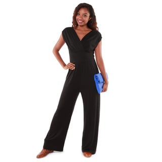 Hadari Women's Black Short-sleeve Jumpsuit