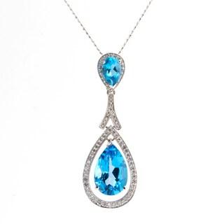 14k White Gold 2/5ct TDW White Diamond and Blue Topaz Necklace (H-I, SI1-SI2)