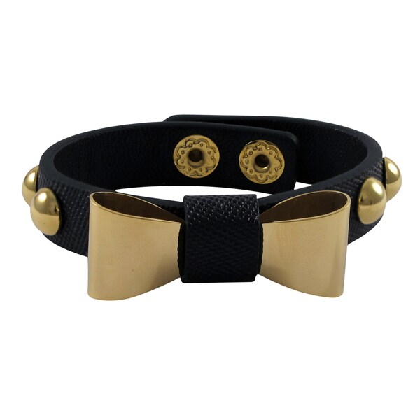 Gold Finish Stainless Steel Bow Genuine Leather Snap Bracelet