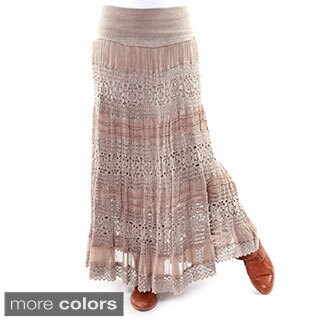 Hadari Women's Crochet-detail Maxi Skirt
