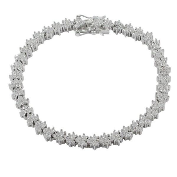 Sterling Silver Cubic Zirconia V-shaped Cluster Tennis Bracelet