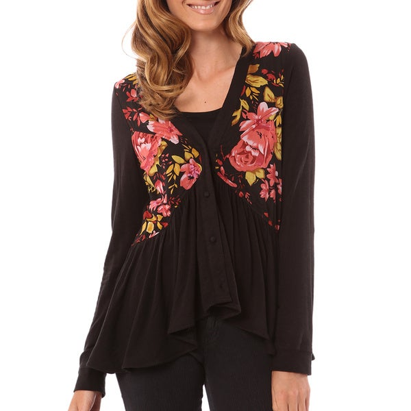Mosse Women's Black Patchwork Cropped Cardigan