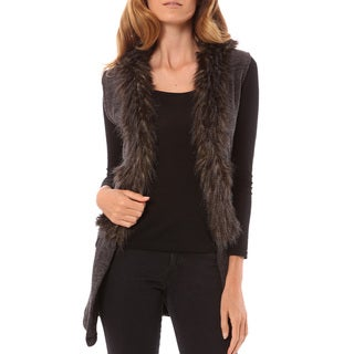 Mossee Women's Charcoal Faux Fur Vest