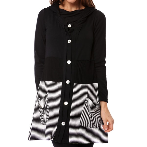 Mosse Women's Black and White Hooded Detail Cardigan