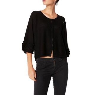 Mossée Women's Black Slouchy Stitch Pullover Cardigan