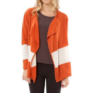 Mossee Women's Cashmere Blend Orange Colorblocked Open Cardigan